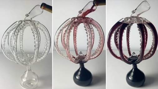 Майстер видуває зі скла неймовірний декантер для вина у формі восьминога: відео