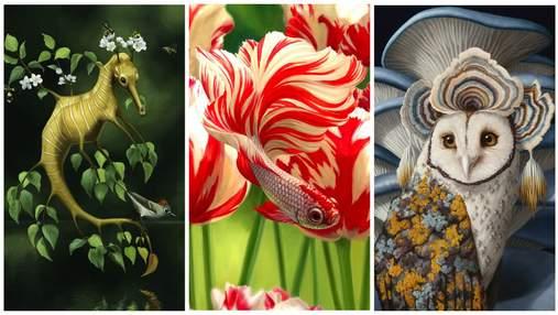 Объединяет флору и фауну: художник-самоучка создает гибридных мифических существ